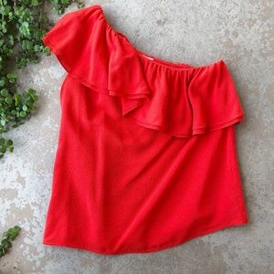 Rebecca Taylor Red Off Shoulder Ruffle Top Blouse